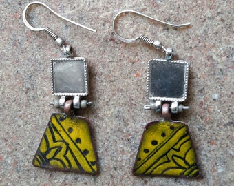 Silver Earring with enamelling on copper