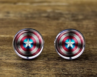 Captain America cufflinks, Captain America jewelry, Captain America accessories