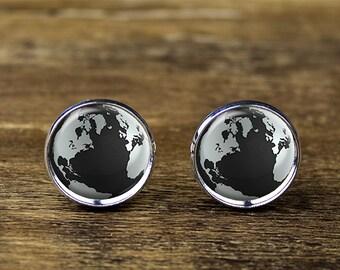 Globe World cufflinks, World cufflinks, Earth Cufflinks