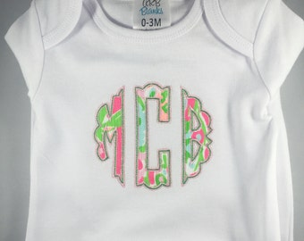 Newborn girl gown with ruffles with monogram using Lilly Pulitzer fabric!