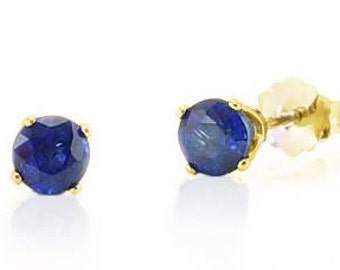 Fabulous Color! 100% 14K Yellow Gold Blue Sapphire Stud Earrings .75ct - 4mm Round - September Birthstone
