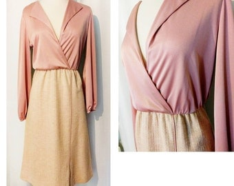 REDUCED! Andrea Gayle Pink and Tweed 70s Dress