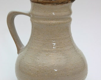 East German Pottery Jug, Strehla Vintage White Jug, Mid Century West German Jag