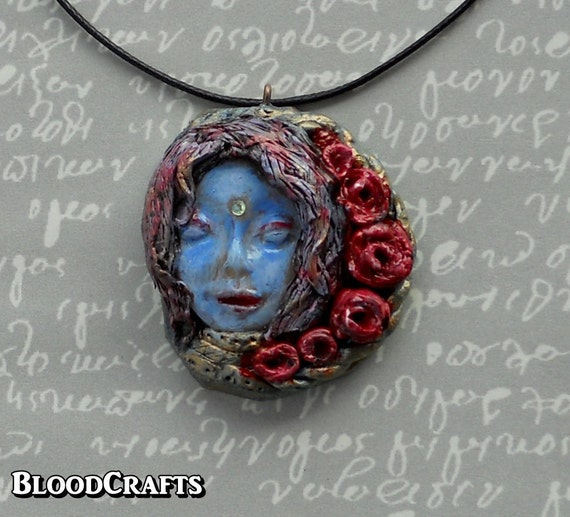 Handmade necklace Blue Fairy Elf Spirit with Roses fantasy art pendant