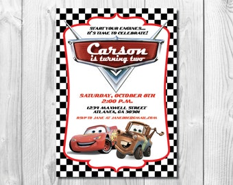 Disney Cars Birthday Party Invitation >> Lightning McQueen Invitation >> Tow Mater Invite  << Cars Party >> Custom Printable Digital File