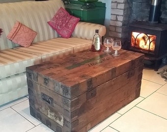 Antique C1900 Victorian St Johns Ambulance Chest Trunk Coffee Table