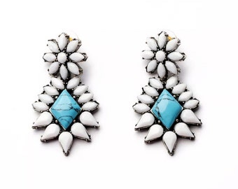 White flower and turquoise statement earrings