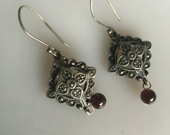 Victorian styled 925 marcasite and garnet earrings