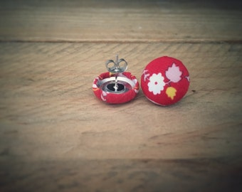 Red Earrings. Floral Earrings. Handmade Earrings. Fabric Button Earrings. Gifts For Her. Gifts Under 20. Stud Earrings. Clip On Earrings.