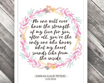 Personalised Nursery Print, New Baby Print, Nursery Artwork Print, Inspirational Quote Print, Christening Print, Gift Print, Newborn Print