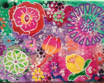 Sunshine Day flower painting, flower art, small canvas