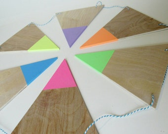 Wood Neon Bunting Flags