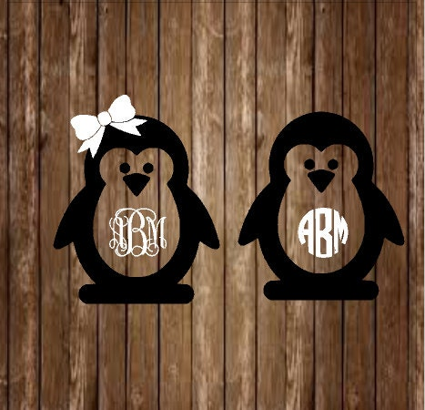 Penguin Monogram Decal Penguin Decal Monogram Decal Custom