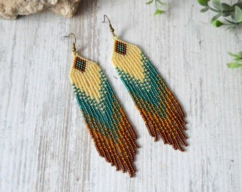 Long fringe earrings, Beaded earrings, Boho style,  beadwork jewelry, dangle earrings, Native American style, seed bead earrings