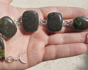 "Jasper Bracelet Earthy Colors Awesome Shaped Stones 9-9 1/2""  Silver"