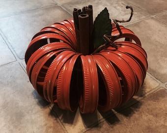 Recycled Ball Jar Lid Pumpkin