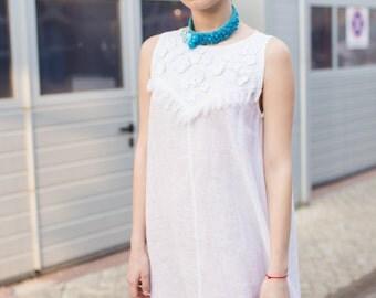 Linen Dress -White linen dress-Short dress
