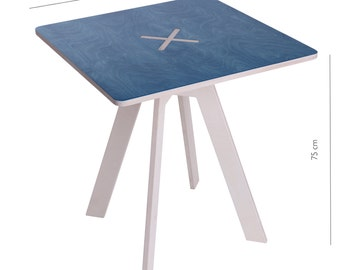 Square table, blue