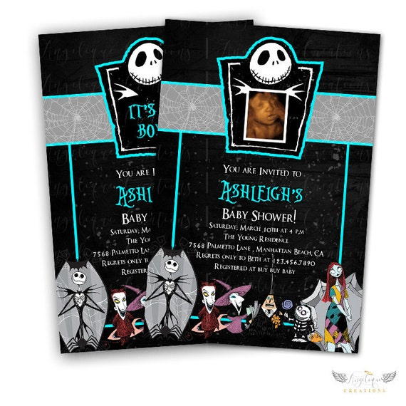 Blue Nightmare Before Xmas Invitations & Blank Digital Thank You Card to match