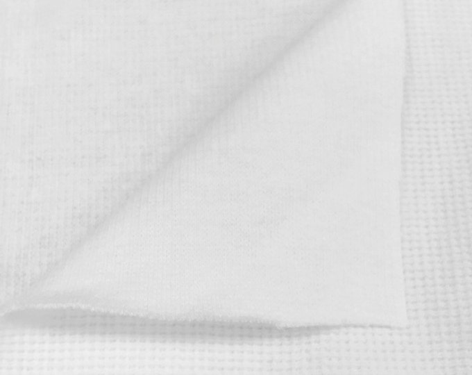 100% Cotton Flatback Thermal Knit Fabric By the Yard (Wholesale Price Available By the Bolt) USA Made Premium Quality - 7365D White - 1 Yard