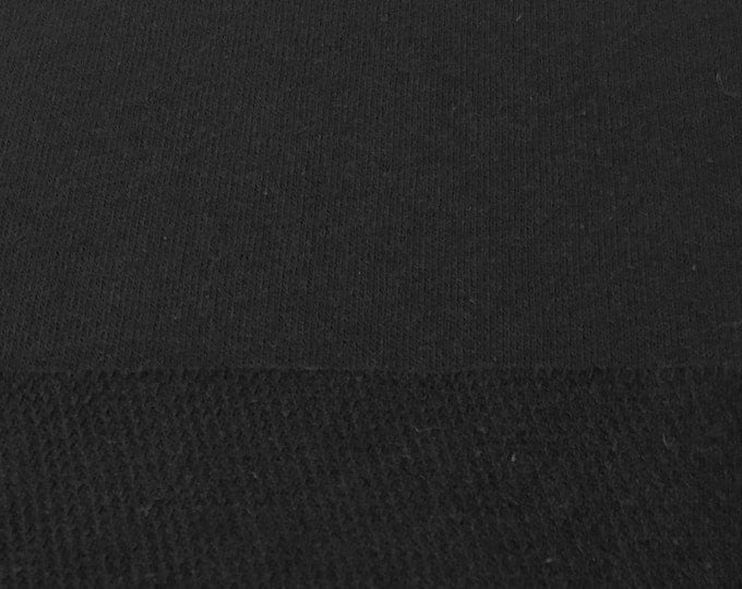 French Terry Knit Fabric By the Yard (Wholesale Price Available By the Bolt) USA Made Premium Quality - 8023R Black - 1 Yard