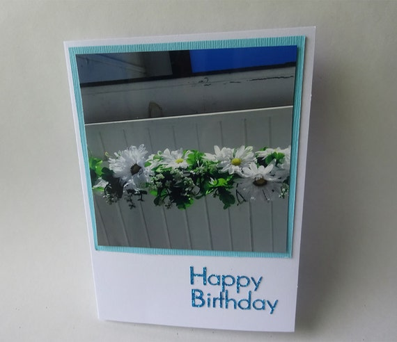 Birthday Card with White Flowers and Green Leaves - #1194