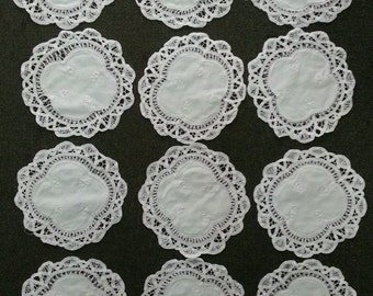 "Battenburg Lace Doilies 100% Cotton Available Size 10"" Inch / 8"" Inch / 6"" Inch Round - 1 Dozen White"