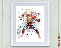 Colossus X-Men watercolor nusery wall art decor, Colossus instant download, X-Men printable nursery print, X-Men print, Nursery superhero