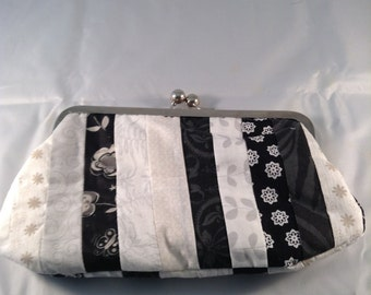 Black and white pieced clutch, black and white handbag, black and white purse