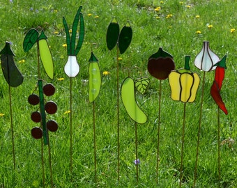 Stained glass garden marker stakes