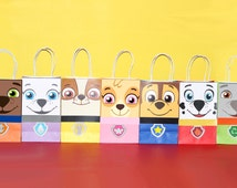 Paw Patrol Favor Bag Instant Download (7 Characters Included)