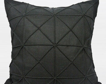 "Luxury Black Textured Checkered Pattern Wool Pillow Cover 20""X20"""