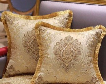 "Luxury Gold Verona Pillow Cover Embellished With Trim 20""X20"""
