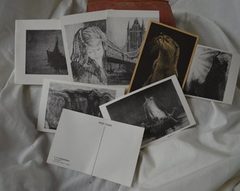 Old postcard and prints