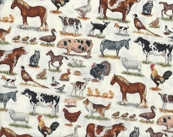 Farm Animals...cottond quilting fabric...The Henley Studios...1486
