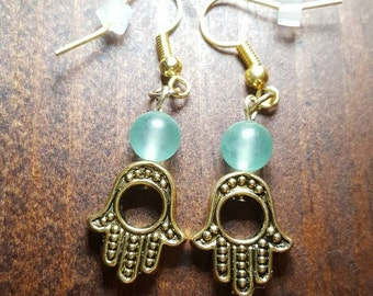 Hamsa and aventurine earrings