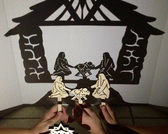 Mini Nativity 4 Piece Shadow Puppet Set, Scripture Shadows, Nativity Set, Creche, Nativity for Kids, Christmas Gifts, Bible, Shadow Puppets