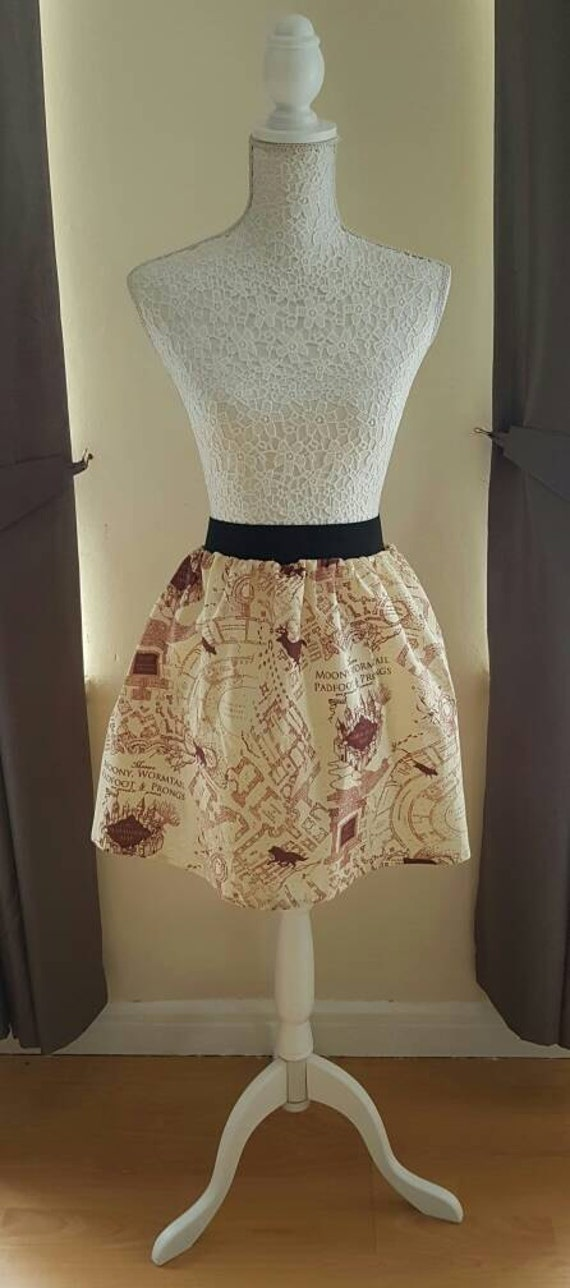 Adult Harry Potter Inspired Marauders Map Full Skater Skirt