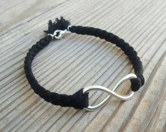 Braided black infinity bracelet
