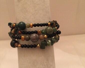 Earthy Multi Bead Wrap Bracelet