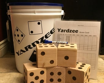 Yardzee Lawn Dice Set - Painted - Father's Day - Graduation Day - Picnic Party - Camping - Summer - Reception Game - Wedding