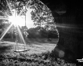 Photograph of a swing at dusk in the French countryside