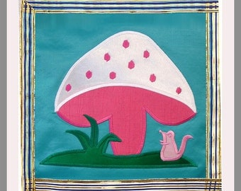 Kid's Wall-hanging - Applique. Perfect Gift for baby, child, Christening. Family Heirloom - Toadstool & Mouse. Great xmas/christmas present.