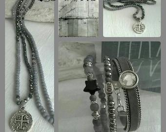 Long chain ⭐ beaded ⭐ grey of ⭐ boho style
