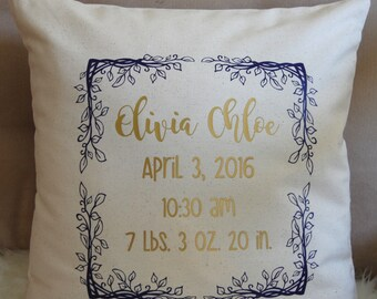 Birth Announcement Pillow, Baby Girl Gift, Personalized Baby Gift, Birth Pillow, Baby Girl, Newborn Pillow, Girl Announcement Pillow