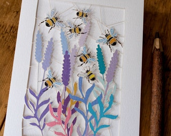 Bees Laser Cut Greeting Card -made in UK
