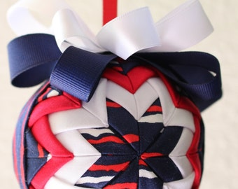 Patriotic Stripes Fabric Quilted Ornament