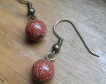 Goldstone Orb Earrings