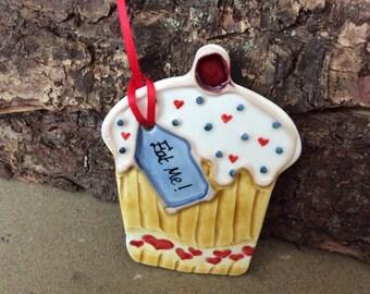 Handmade ceramic cupcake decoration/ gift tag
