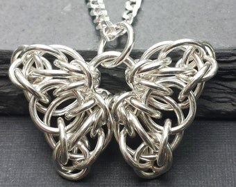 Tiny celtic butterfly chainmail pendant sterling silver celtic butterfly chainmail pendant sterling silver mozeypictures Image collections